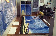 British artist David Hockney at work on the 'Paper Pools' series. via Printeresting David Hockney, Artist Art, Artist At Work, Atelier Creation, Pop Art Movement, Arte Popular, Art Studios, Great Artists, Art History