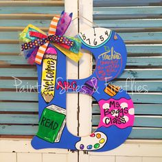 Teacher themed hand painted wooden letter / by paintedskyfirefly Teacher Door Hangers, Teacher Doors, Teacher Signs, Painting Wooden Letters, Painted Letters, Hand Painted, Pencil Door Hanger, Teacher Canvas, Letter School