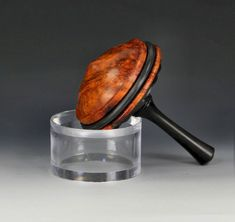 African Blackwood & Southeast Asian Amboyna Burl, with rose engine embellishements, by yoyospin.com Amboyna Burl, Spinning Top, Woodturning, Engine, Projects To Try, African, Toy, Handmade, Wood