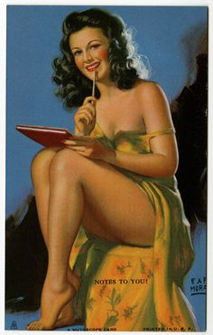 Earl Moran 1940s Art Deco Mutoscope Card Leggy Pin-Up Risque Notes To You Fine #MutoscopeCard