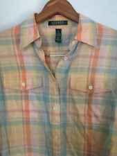Ralph Lauren Linen Blend Long Sleeve Woman's Button Front Shirt Plaid EUC