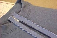 Hoodies, or hooded sweatshirts, are sometimes preferred over those that zip up the front, but occasionally when a hoodie seems too heavy for the season, putting a zipper on the front of it is just the solution needed. Adding a zipper to a garment is an ea Sewing Hacks, Sewing Tutorials, Sewing Crafts, Sewing Tips, Sewing Basics, Sewing Lessons, Diy Clothing, Sewing Clothes, Sweat Shirt
