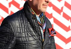 """from Style.com """"in my own design aesthetic i am all about unique top stitching that becomes a design feature. this jacket is awesome and inspiring to me. the color of the scarf is fantastic. and the pocket square put in a jacket like this is brillant!"""""""