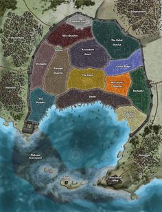 A map of the districts of Absalom. Fantasy City Map, Fantasy World Map, Fantasy Places, Dnd World Map, Rpg World, Fantasy Armor, Medieval Fantasy, Pathfinder Maps, Rpg Map