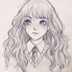 Drawing Hermione Granger❤ She is so intelligent and beautiful!! But the feeling is mine!! Omg, i'm really bad at Biology and Physics,unlike her! #mangadraw #fanart #hermione #animedraw #mangasketch