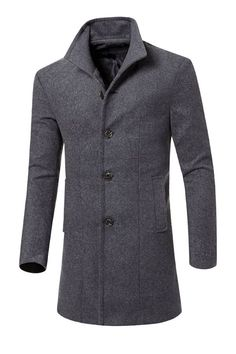 9f30ffdfaa3 Long Slim Solid Color Men s Trench Coat  Coat thick coat