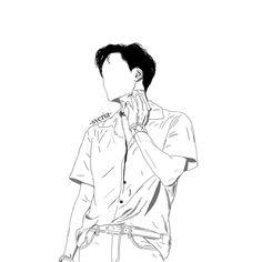 Kpop Drawings, Anime Couples Drawings, Virtual Boy, L Tattoo, Exo Fan Art, Hand Embroidery Art, Kim Jongin, Kpop Fanart, Minimalist Art