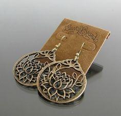 New Lucky Brand Jewelry Lotus Flower Vintage Pierced Earrings