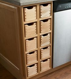 KITCHEN STORAGE: Dovetailed Base Spice Drawer Cabinet: These handy wooden boxes keep spices, linens and small essentials neatly tucked away. Bathroom Cabinetry, Kitchen Pantry Cabinets, Kitchen Cabinet Design, Kitchen Storage, Tall Cabinet Storage, Locker Storage, Bath Cabinets, Cabinet Drawers, Cupboards