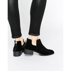 Pull&Bear Ankle Boots With Tassel Detail (28.620 CRC) ❤ liked on Polyvore featuring shoes, boots, ankle booties, black, ankle boots, black bootie, black ankle bootie, cutout ankle boots and black boots