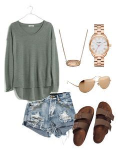 """""""2"""" by madelynprior15 ❤ liked on Polyvore featuring Madewell, Birkenstock, Kendra Scott, Linda Farrow and Kate Spade"""