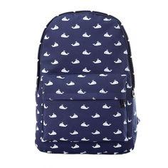 Moonwalk Cavans Leisure Whale Travel Hiking College Backpack Rucksack Student Schoolbag for Teens Girls (Dark Blue)
