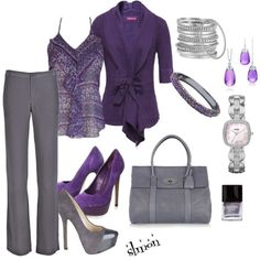 """""""Purple and Grey"""" by slmon on Polyvore"""