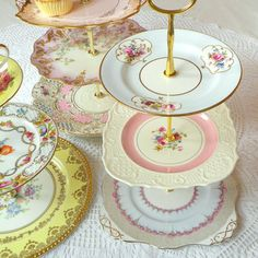 Alice Cheers Up, Pink & Pale Blue Cupcake Stand of Vintage China, 3 Tier Display for Baby Shower, Birthday, Wedding or Tea Party Centerpiece Vintage Plates, Vintage China, Antique China, Antique Dishes, Vintage Decor, Tea Party Centerpieces, Centrepieces, Afternoon Tea Tables