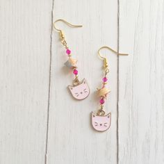 Handmade Cat Hoop Earrings Cat Creoles Gift for Cat Lovers Kitten Earrings Cat Lady Cat Earrings