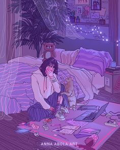 Uploaded by Zahraa A. Find images and videos about girl, art and anime on We Heart It - the app to get lost in what you love. Art And Illustration, Dark Art Illustrations, Aesthetic Anime, Aesthetic Art, Aesthetic Drawings, Night Aesthetic, Sad Art, Sad Girl Art, Sad Girl Drawing