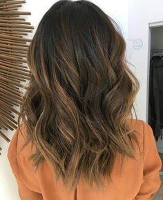Wavy Dark-Chestnut Medium-Length Hair with with Short Layers
