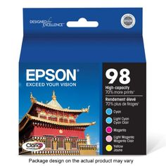 Epson Claria T098920 98 Extra High-capacity Inkjet Cartridge Color Multipack-Cyan/Light Cyan/Magenta/Light Magenta/Yellow  Claria high-definition ink with dye-based ink technology delivers unsurpassed image quality and long-lasting results. Photos printed with Claria ink will last longer than traditional, lab-processed photos. Replace only the color you need with individual ink cartridges. Device Types: Inkjet Printer; OEM/Compatible: OEM; Page-Yield: 450; Supply Type: Ink.  http:/..