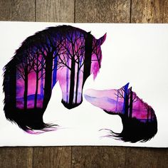 Details of my 'Mother and baby in the wild' piece Amazing Drawings, Colorful Drawings, Cute Drawings, Galaxy Painting, Galaxy Art, Horse Drawings, Animal Drawings, Silhouette Painting, Desenho Tattoo