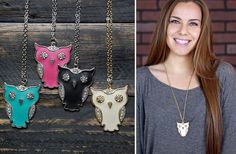 GroopDealz | Leather Owl Rhinestone Necklace