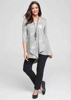 Plus Size Ladies' Tops in Australia - White, Black, Mesh & More - WILD SHIMMER 3/4 SLEEVE TOP