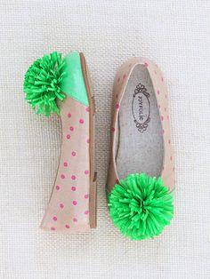 .Pink  Ivory polka pom pom shoes