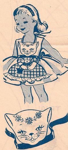 Little Girls Kitty Cat Vintage 1940s Apron