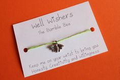 ♥ The message on the card is inspired by the charm and what it symbolises. For example : The Bumble Bee Honesty, Cricut Ideas, Friendship Bracelets, Insects, Bee, Creativity, Charmed, Birds, Messages