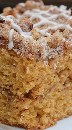 Spiced Pumpkin Coffee Cake Recipe | Repinned by Itzy Ritzy