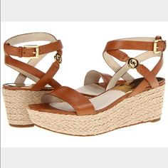 """Michael Kors Platform Espadrille Wedge JalitaCharm - Open toe; logo charm at ankle and adjustable strap - 2.5"""" wedge, 1.5"""" platform; feels like 1"""" wedge.  Leather upper, leather lining, manmade sole, color luggage, imported. Used once excellent condition no box                                    No Trades Price Firm Michael Kors Shoes Wedges"""