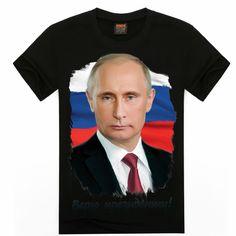 2016 brand new Putin 3d Printed t shirt Vladimir Putin the Great hip hop Casual Tshirt men Organic Cotton