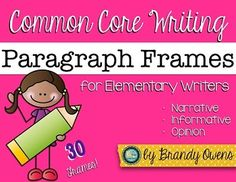 Common Core Writing Paragraph Frames for Elementary Writers! Perfect no-prep paragraph writing practice for second and third graders! 30 frames with authentic prompts to scaffold organizing the perfect paragraph. Writing Curriculum, Writing Resources, Teaching Writing, Writing Practice, Writing Ideas, Teaching Ideas, Paragraph Writing, Writing Prompts, Language Lessons