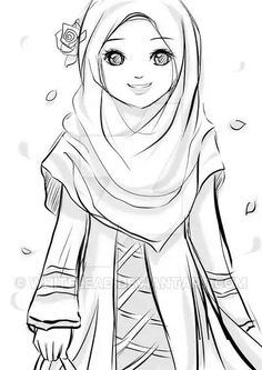 """assalamualaikum w. """"i am muslimah, you are also a muslimah, be proud with Islam!"""" i am selling this peace for only: USD 6 (non color) USD 14 . I am muslimah Cartoon Sketches, Cartoon Art, Hijab Drawing, Islamic Cartoon, Hijab Cartoon, Islamic Girl, Coloring Pages For Girls, Girls Anime, Girl Sketch"""