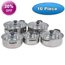 10 Piece Kitchen Cookware Stainless Steel Pots - Stainless Steel Pots - Reinforced Glass Lids
