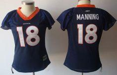 Denver Broncos #18 Peyton Manning Blue Women's Field Flirt Fashion NFL Jerseys