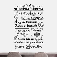 Vinil decoratiu de la nostra recepta per parets. Cute Love, Love You, Halloween Bedroom, Inspiration Wall, Cafe Interior, Some Words, Home Decor Furniture, Restaurant, Lettering