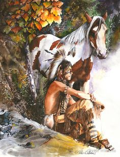 """""""Sunburst"""" by Peter Williams.  A watercolour painting depicting a young Native American Indian boy watching the sun come up from a high point with his Indian pony beside him."""