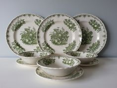 """9 pc. Set of Green Transferware Dishes """"Fruit Basket"""" by Johnson Bros. Made in England 3 Dinner Plates, 3 Salad Plates, 3 Cereal Bo by CottageBlu on Etsy https://www.etsy.com/listing/271011327/9-pc-set-of-green-transferware-dishes"""