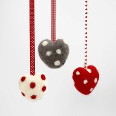 13154 A Needle Felted Heart with Dots and a Decorative Ribbon