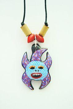 Puerto Rico Vejigante Mask Coconut Necklace by TheFlamboyanTree, $13.75