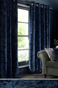 Blue velvet curtains next Blue Eyelet Curtains, Velvet Curtains Bedroom, Dark Blue Curtains, Blue Curtains Living Room, Orange Curtains, Home Curtains, Living Tv, My Living Room, Dark Blue