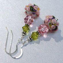 """""""Dainty Bouquet"""" : Lamp Work Beads, Swarovski Crystal Sterling Silver Earrings"""
