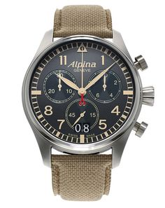 Startimer Chronograph Big Date AL-372BGR4S6 with grey dial and sand colour indexes. Swiss Made professional pilot watch.