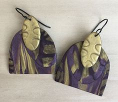 Earrings, gold, purple and plum tones, shimmer, tribal by LindaBrooksDesigns on Etsy