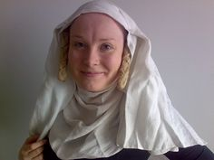 How to wear a veil & wimple - excellent tutorial with link to how to make false plaits as well