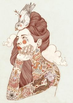 Tattoo illustrations by Liz Clements. Liz is Freelance artist/illustrator based in London, UK. Art And Illustration, Portrait Illustration, Tattoo Illustrations, Art Therapy Projects, Art Projects, Cartoon Star Wars, Liz Clements, Rik Lee, Videos Kawaii