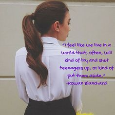 How do you feel about what she said? The teenage girl voice sometimes can be ignored because a lot of people think were to busy living young, wild, and free lol but we have a voice and it will be heard. Follow us  #Rowanblanchard