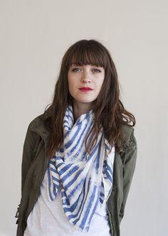 pretty indigo chelsea stripe scarf