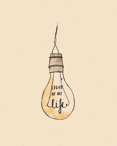 Light of my Life LIGHT BULB Illustration Print by AnAprilIdea, $19.00