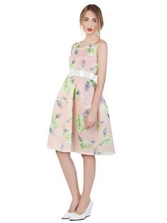 Choies Design Limited Fan Fare Floral Print Visco-Elastic Puff Midi Dress | Choies